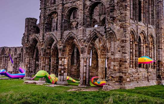Inflatable snakes at Whitby