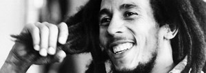 Black and white portrait of Bob Marley