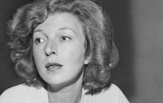 Martha Gellhorn at a press conference held at the oddices of the Spanish Refugee Appeal in New York City in about 1946