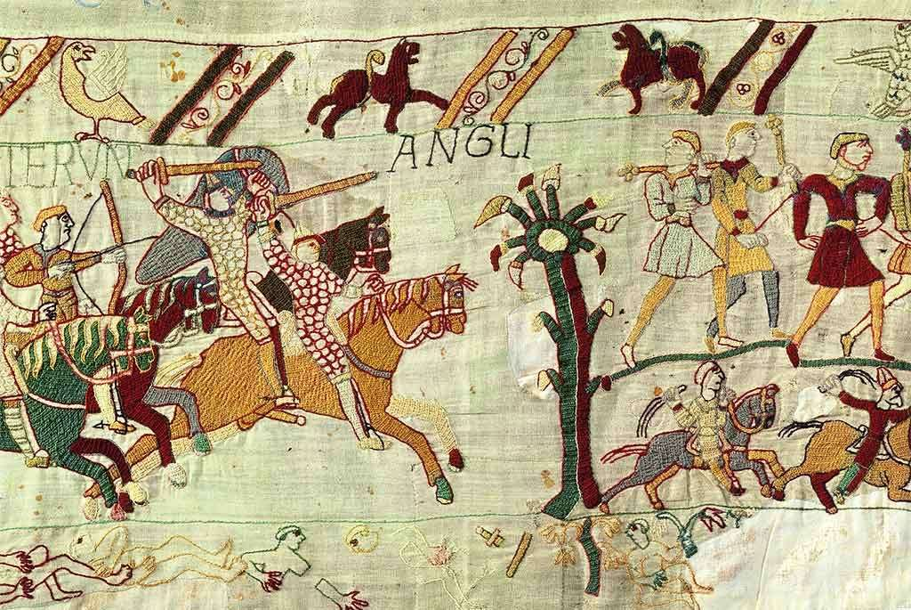The English fleeing the battlefield, depicted in the final scene of the Bayeux Tapestry