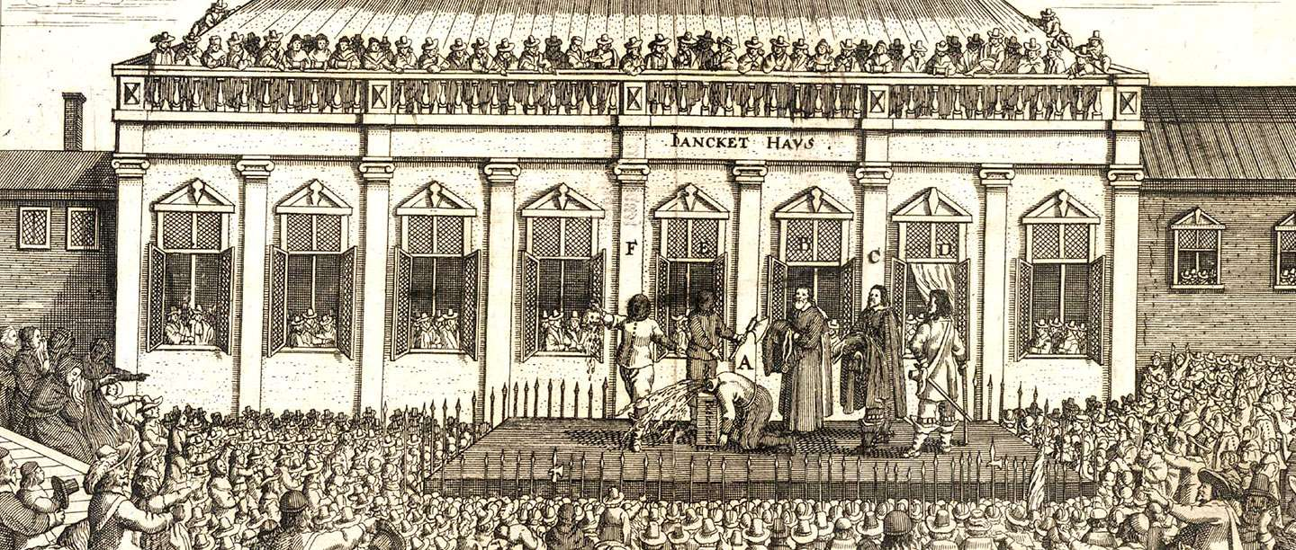 Sepia-toned illustration showing crowds gathered to watch Charles I's execution