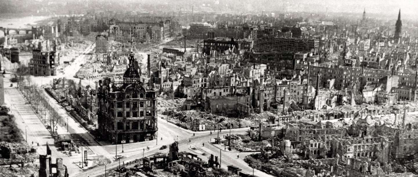 Image: Dresden city centre, after it was devastated by Anglo-American bombing in February 1945. Bomber Command helped defeat Nazi Germany but the deadly area bombing of cities was controversial at the time and remains so today.  (Copyright Getty Images)