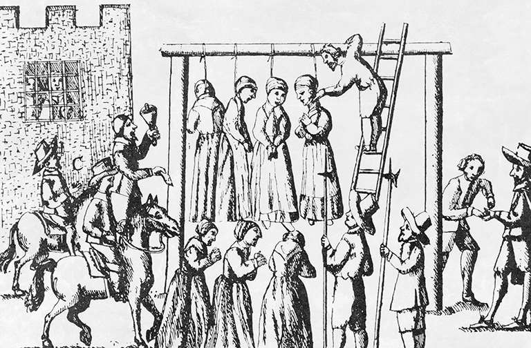 A 1655 pamphlet illustration of witches being hanged