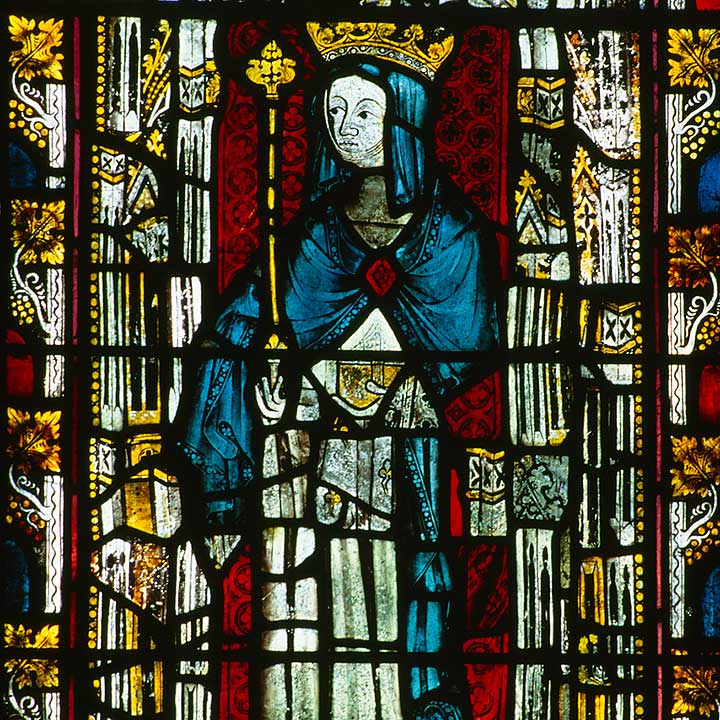 Stained glass window at Christ Church, Oxford, depicting St Hild