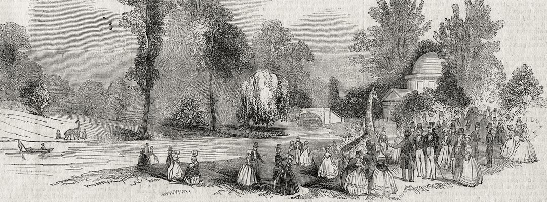 Giraffes on the lawn of Chiswick House in June 1844