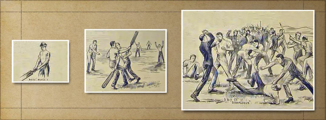 Scenes of cricketers fighting