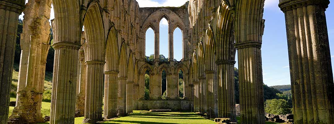 The early 13th-century east end of Rievaulx Abbey church, North Yorkshire