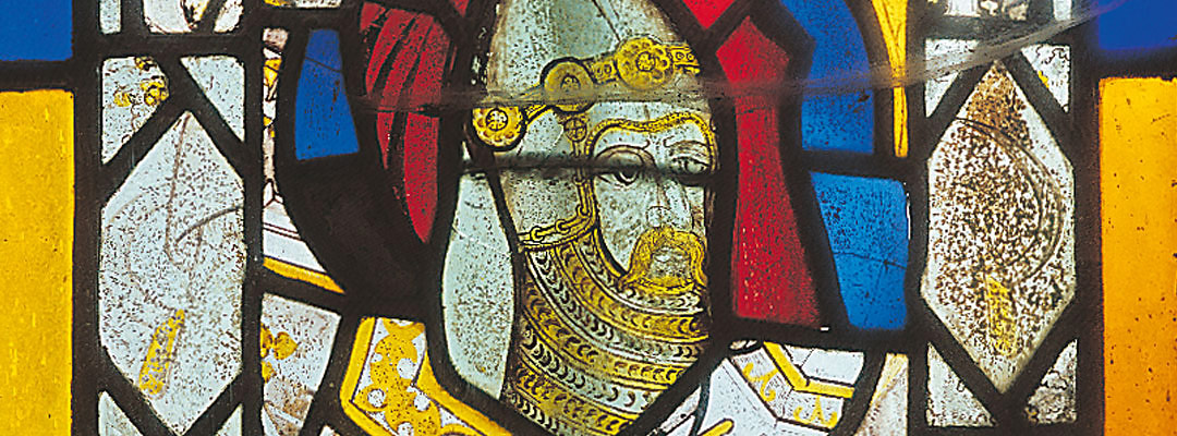 Stained glass portrait of about 1400 of Sir Thomas Hungerford, from Farleigh Hungerford parish church