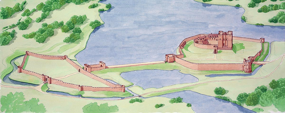 A reconstruction of Kenilworth Castle as it may have looked just before the siege of 1266. King John, Henry III's father, had added the outer stone walls and greatly enlarged the mere, or lake, surrounding the castle in the early 13th century