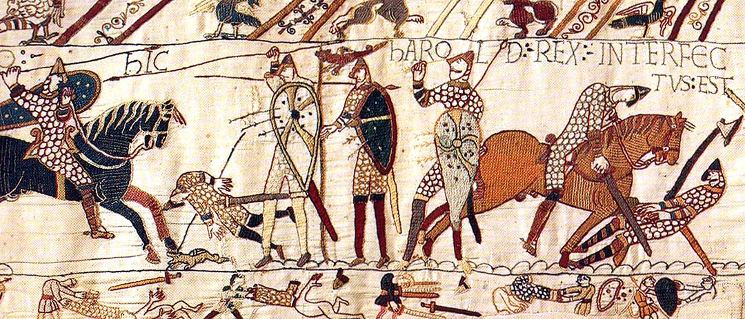 The scene from the Bayeux Tapestry depicting the death of King Harold of England at the Battle of Hastings