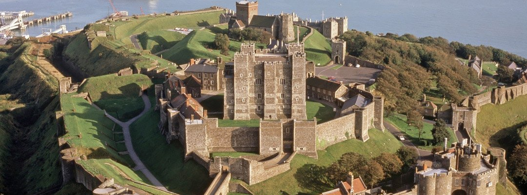 Dover Castle, Kent, showing the 12th-century keep at its heart. The castle was besieged three times during the 13th century