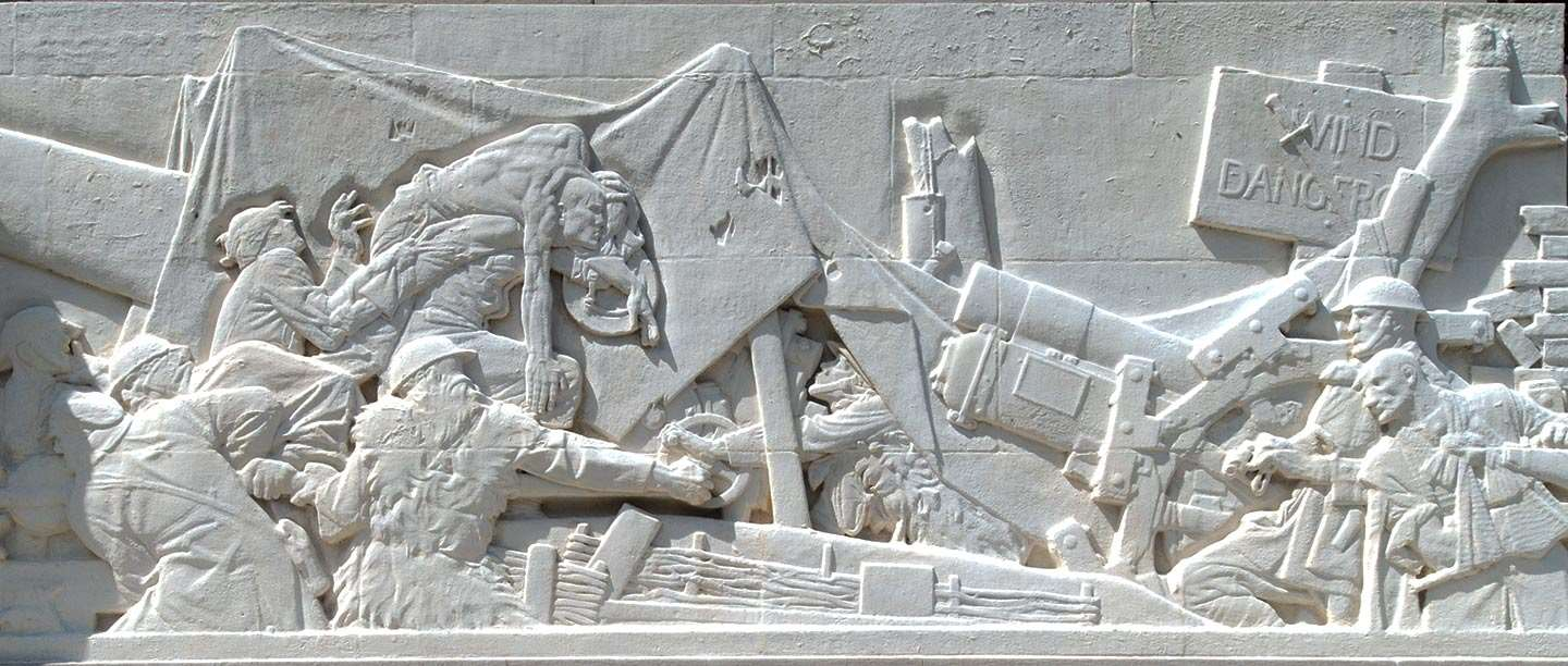 Frieze from the Royal Artillery Memorial depicting a heavy guns in action
