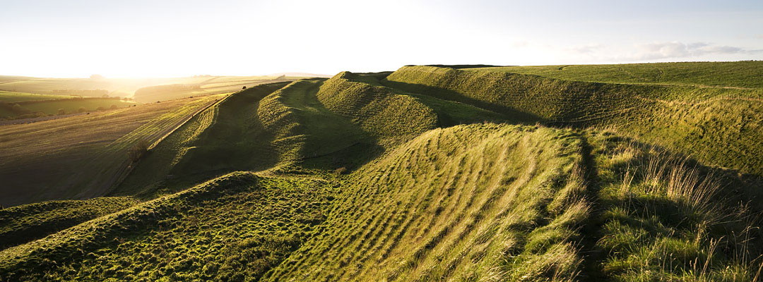 Maiden Castle, Dorset, the largest Iron Age hillfort in Britain