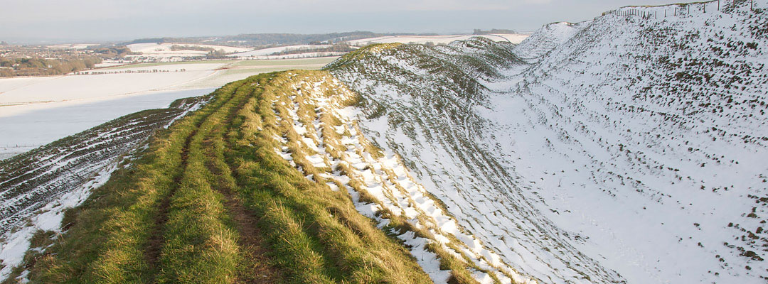 Part of the ramparts at Maiden Castle, Dorset