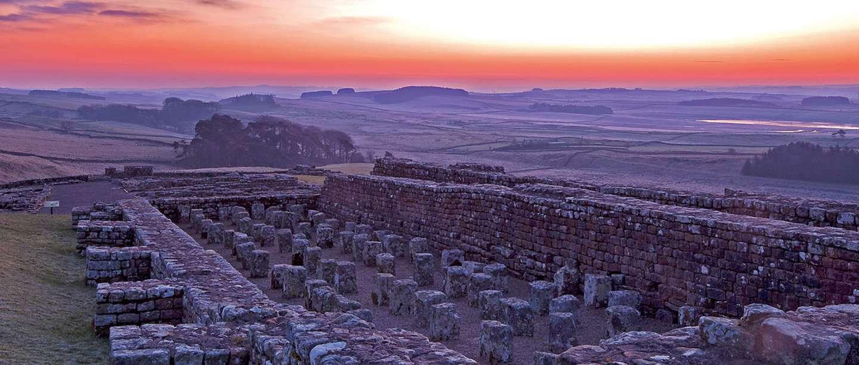 Housesteads Roman Fort at sunrise