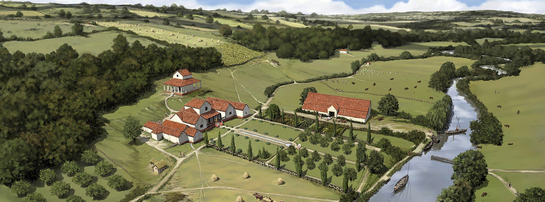Reconstruction drawing of Lullingstone Roman Villa, Kent, in its 4th-century landscape