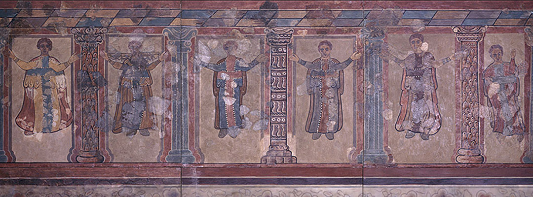 Wall-painting from Lullingstone Roman Villa, Kent, showing Christians at prayer