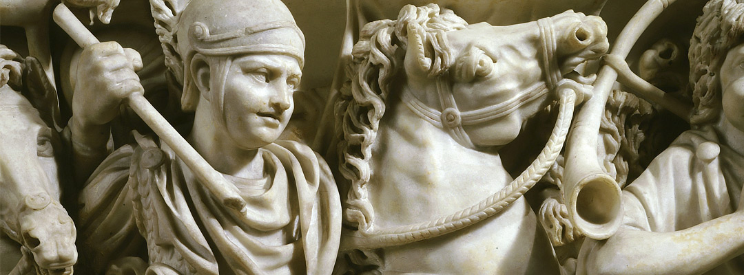 A relief depicting a Roman cavalry soldier