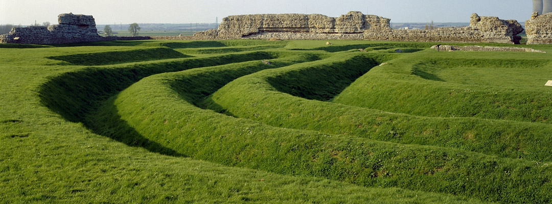 Triple-ditch fortifications at Richborough Roman Fort, Kent