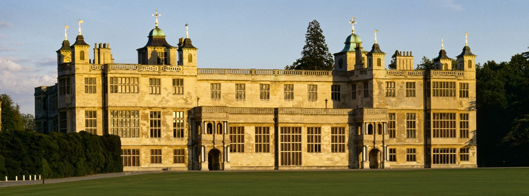 The magnificent Jacobean west front of Audley End, Essex