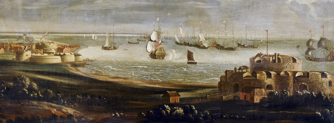 Late 17th-century painting of Deal, Walmer and Sandown castles