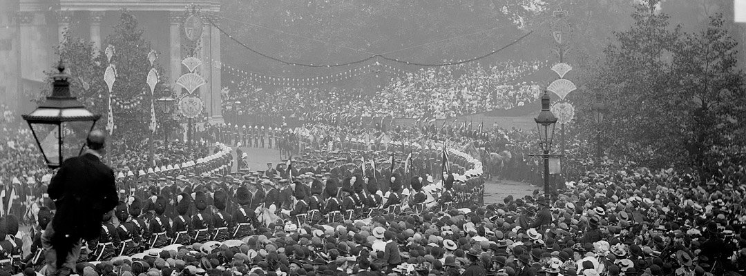 Celebrations of Queen Victoria's Diamond Jubilee in 1897 at Wellington Arch, London