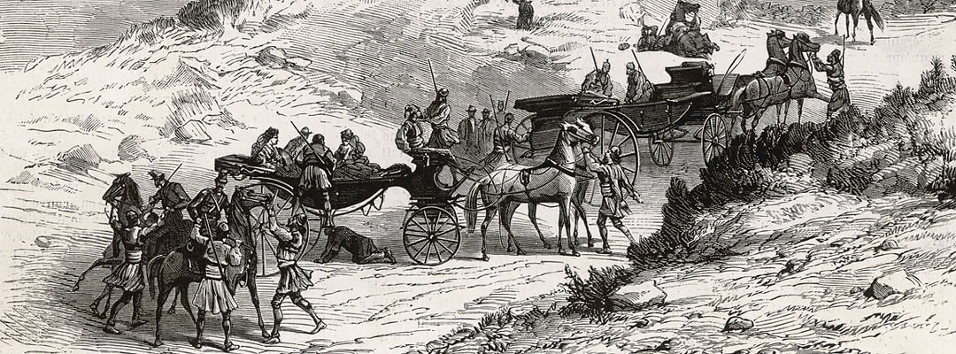 The party of tourists being taken hostage on 11 April 1870