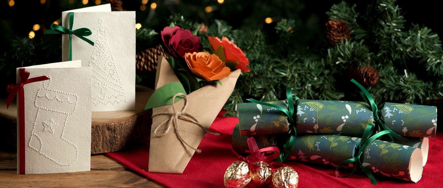 Image: Pin-prick cards, paper flowers, Christmas crackers and gilded walnuts