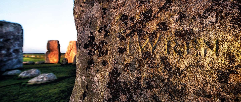 Image: stone inscribed with 'Wren', Stonehenge