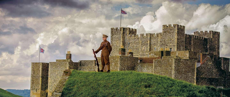 Image: First World War reenactor outside Dover Castle