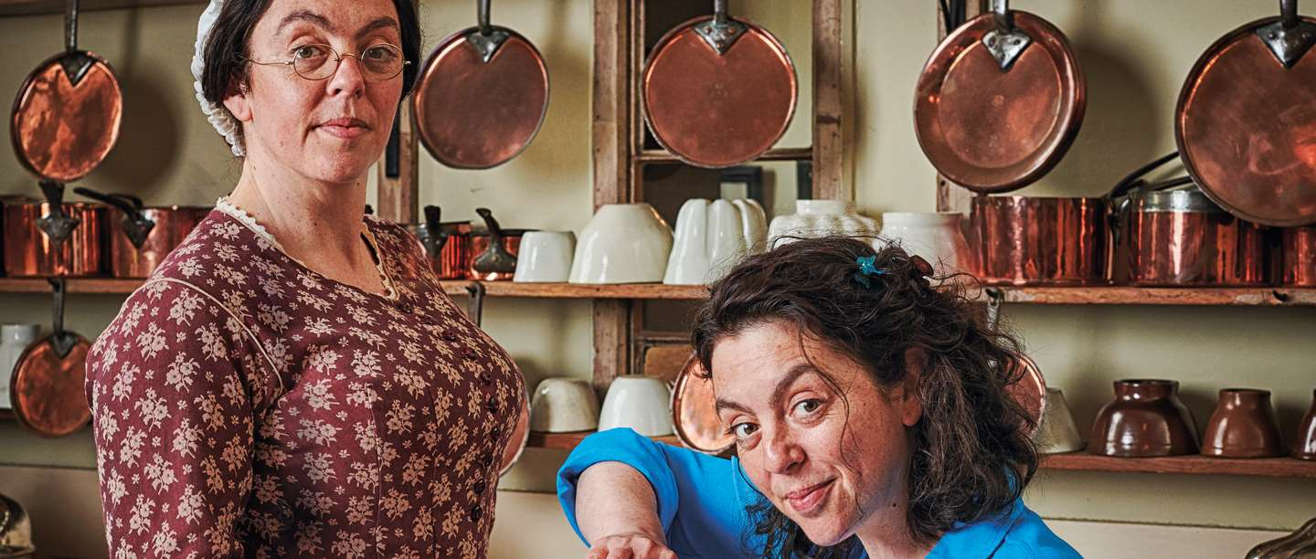 Image: Kathy Hipperson as Mrs Crocombe and as herself