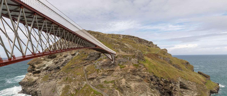 Image: the footbridge at Tintagel Castle