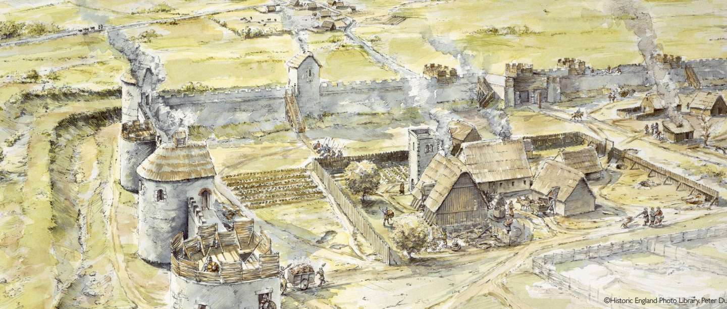 Reconstruction drawing of the Saxon settlement at Portchester in late 10th Century