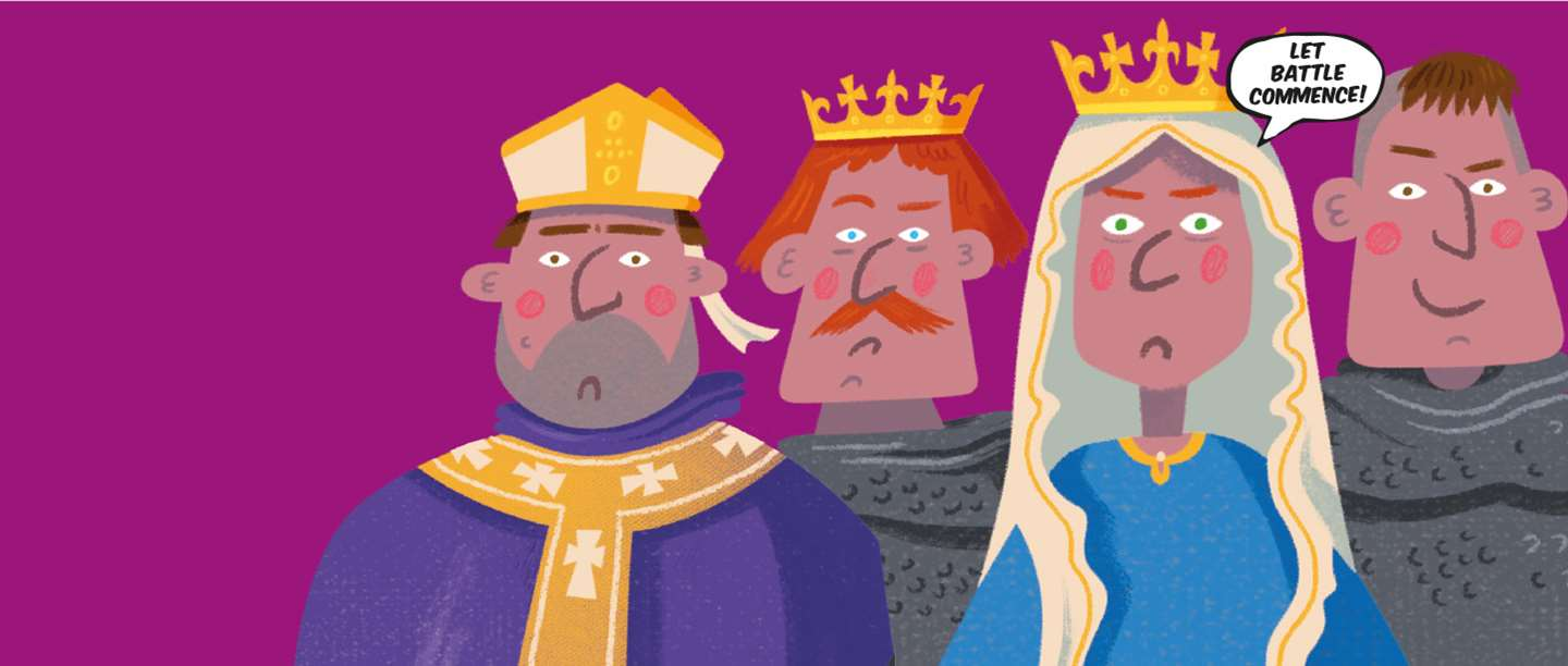 Image: Cartoon versions of some of the people involved with the Norman Conquest