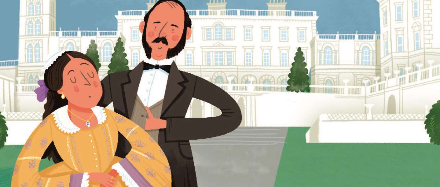 Illustration showing Queen Victoria and Prince Albert at Osborne