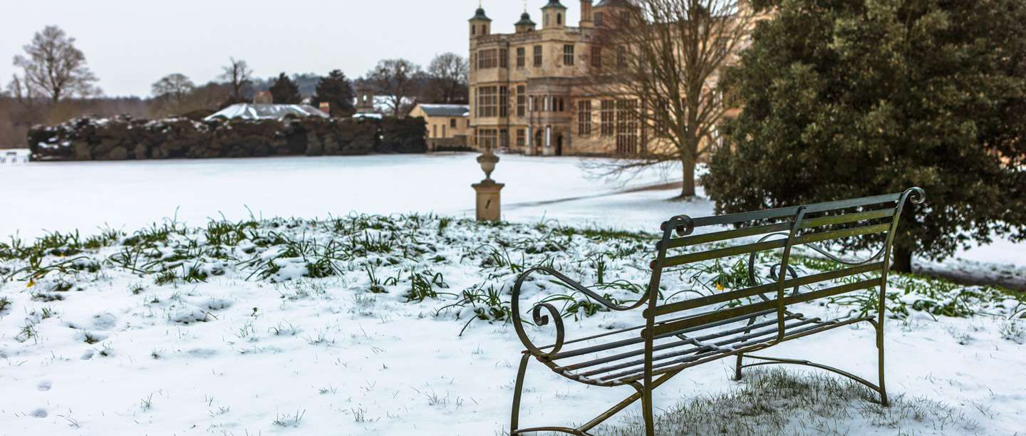 Image: bench at Audley End in the snow