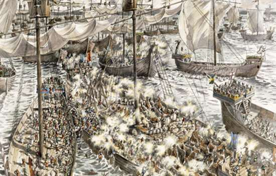 Image: illustration of Battle of Sandwich (copyright Historic England, courtesy of Peter Dunn, Historic England/English Heritage Graphics Team)