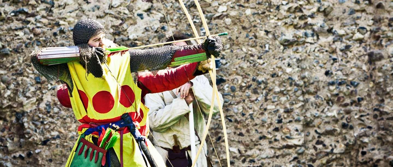 Image: re-enactor dressed as medieval archer