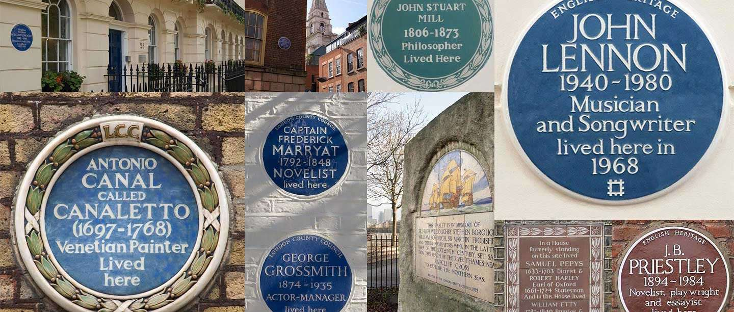 Collage of various blue plaques from around London