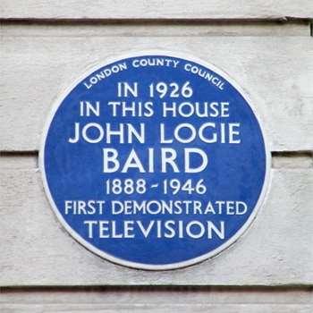 john logie baird first tv demonstration blue plaques english