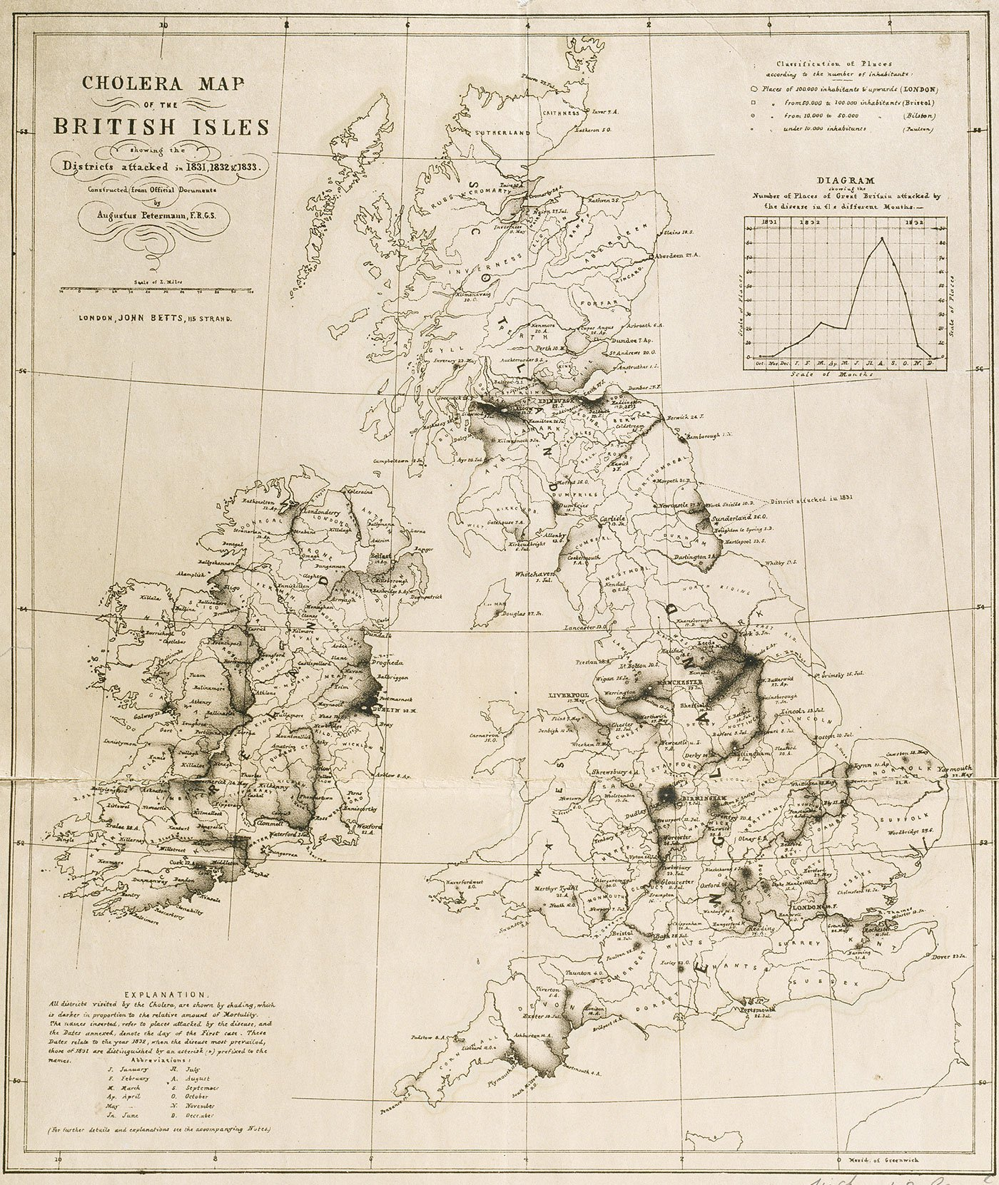 A map of Britain showing cases of Cholera