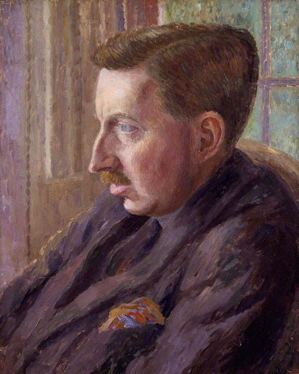 Painting of novelist EM Forster in profile, reclining in armchair
