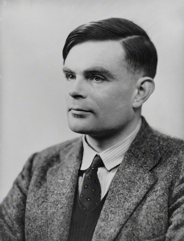 Black and white photograph of Alan Turing, who was arrested and convicted for his homosexuality in 1952