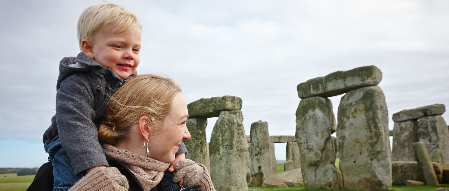 A woman and child at Stonehenge