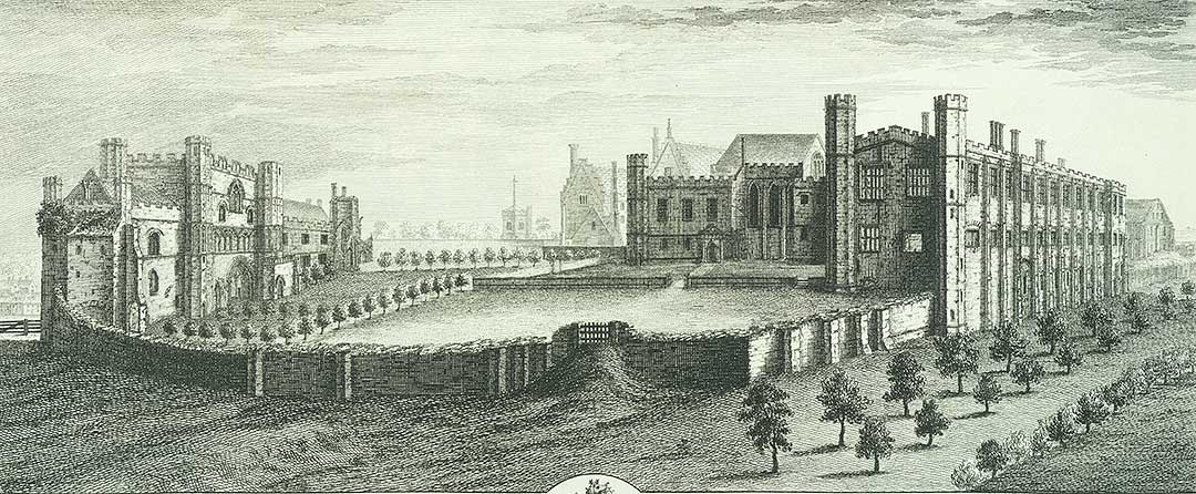 Engraving of Battle Abbey by samuel and Nathaniel Buck in 1737