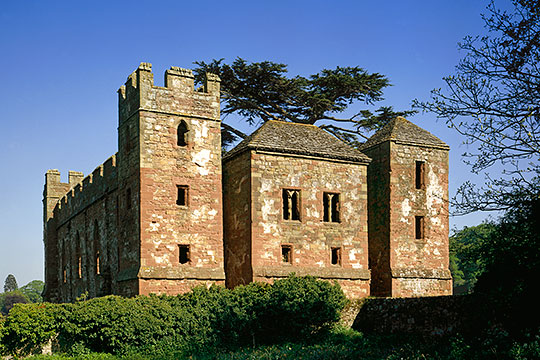 Acton Burnell Castle from the west. The south-west tower was converted into a dovecote in the 18th century