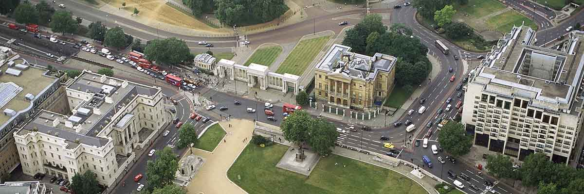 Aerial view of Apsley House (top centre), which lies opposite the Wellington Arch on Hyde Park Corner. The gates to Hyde Park can be seen next to the house