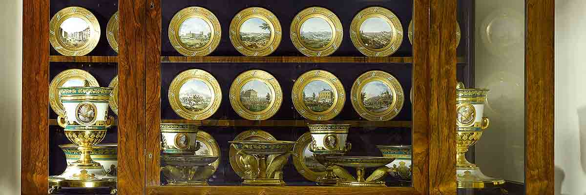 The Saxon Dinner Service, on display in the Museum Room at Apsley House