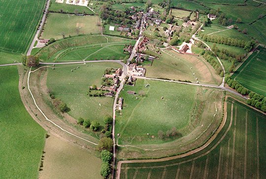 Aerial view of Avebury circle and village