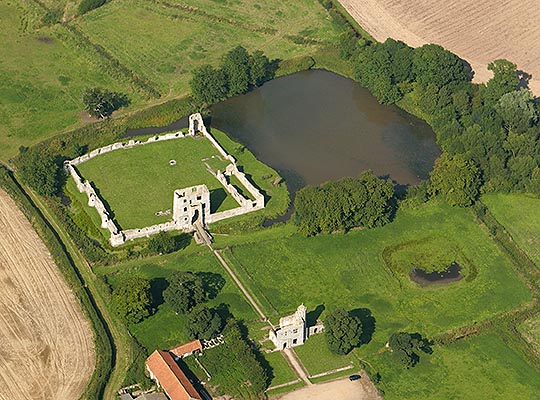 Aerial view of Baconsthorpe Castle, showing the remains of the outer gatehouse and inner castle